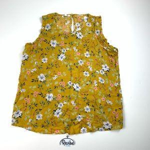 Maurices Women's Floral Mustard Dress Blouse D3544